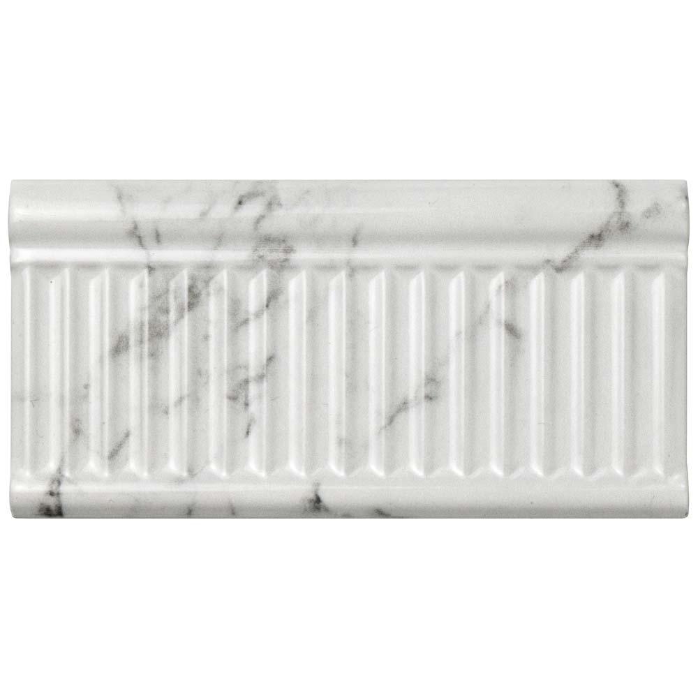 Classico Carrara Glossy Rex 3 in. x 6 in. Ceramic Wall