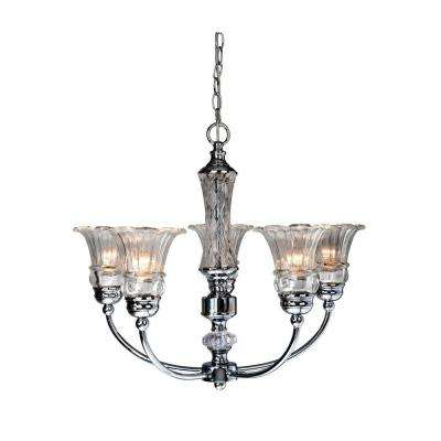 Glacier Petal Glass 5-Light Chrome Chandelier