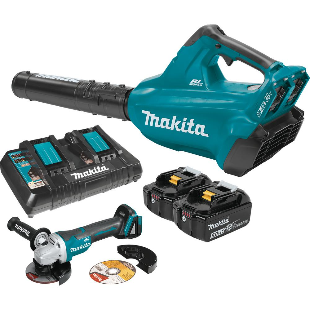 Makita 18-Volt X2 (36-Volt) LXT Li-Ion Brushless Cordless Blower Kit 5 0Ah  and 4-1/2 in  Paddle Switch Cut-Off/Angle Grinder