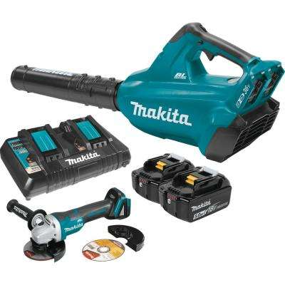 18-Volt X2 (36-Volt) LXT Li-Ion Brushless Cordless Blower Kit 5 0Ah and  4-1/2 in  Paddle Switch Cut-Off/Angle Grinder