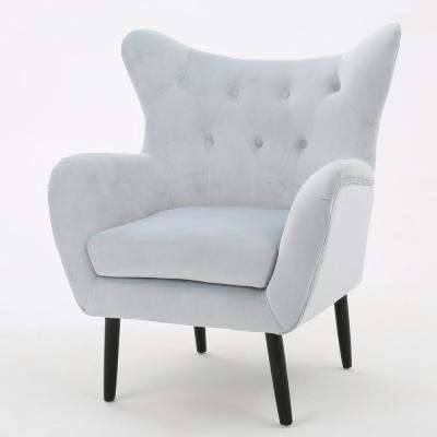 Seigfried Light Grey New Velvet Tufted Arm Chair