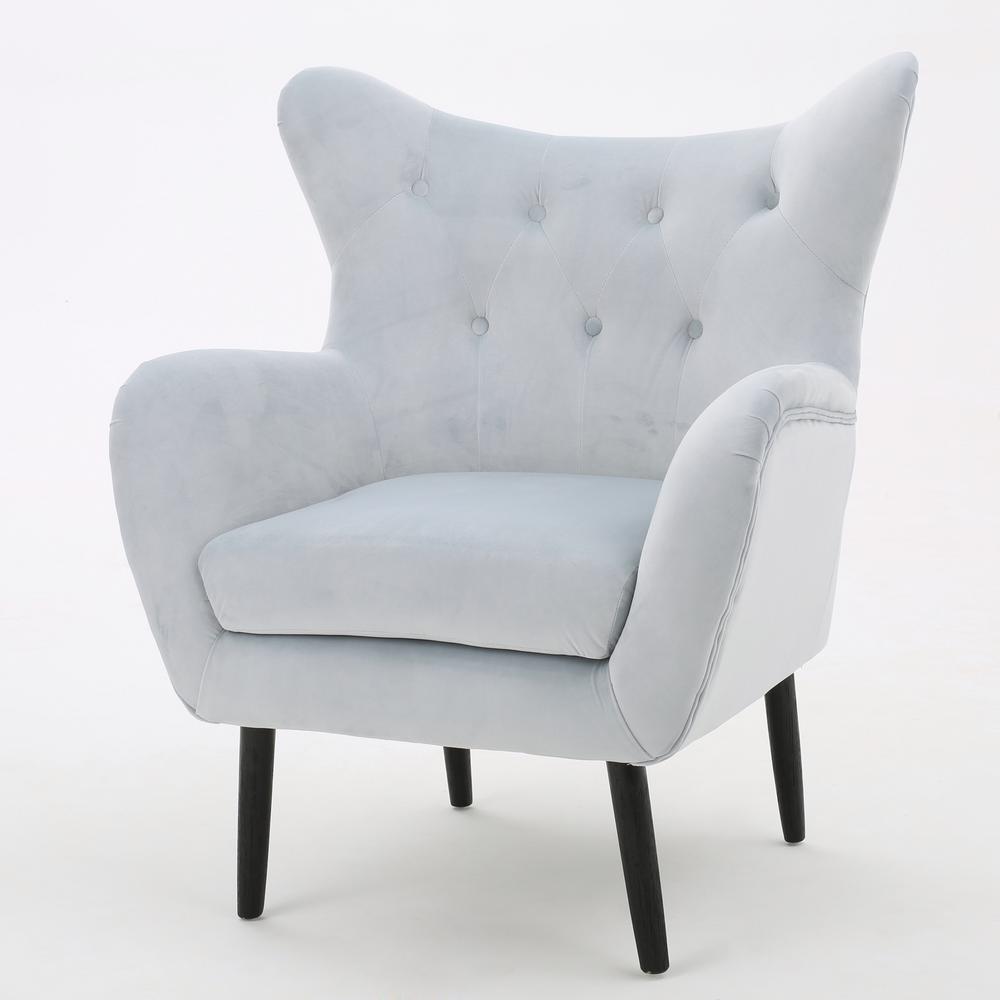 Seigfried Light Grey New Velvet Tufted Arm Chair
