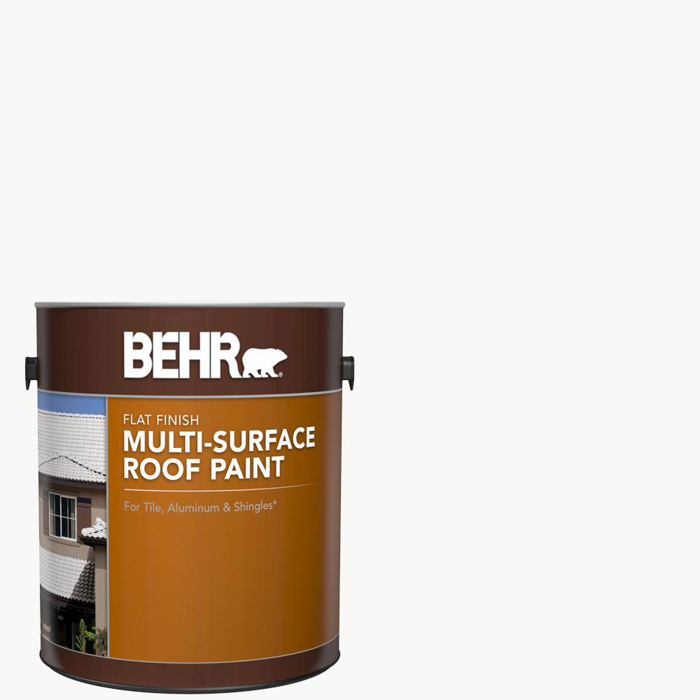 Behr 1 Gal White Reflective Flat Multi Surface Exterior Roof Paint 06501 The Home Depot