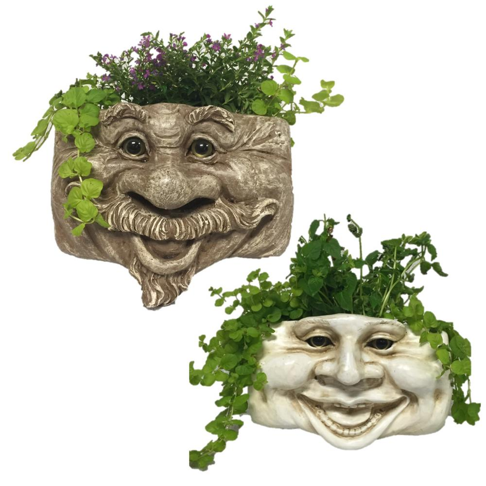 Muggly s 2-Piece Uncle Nate Stone Wash and Aunt Minnie Ant. 10.5 in. White Resin Patio Wall Planter