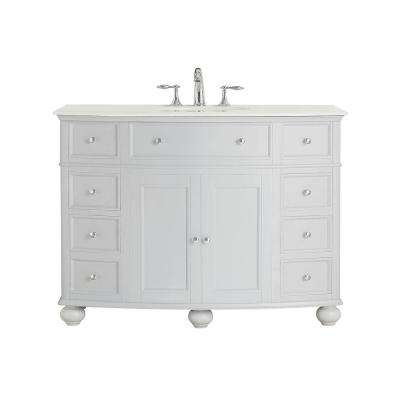 Hampton Harbor 45 in. Vanity in Dove Grey with Marble Vanity Top in White with Basin in White