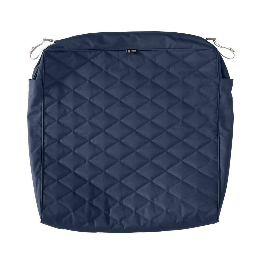 Classic Accessories Montlake Fadesafe 25 In W X 27 In D X 5 In T Navy Quilted Lounge Cushion Slipcover