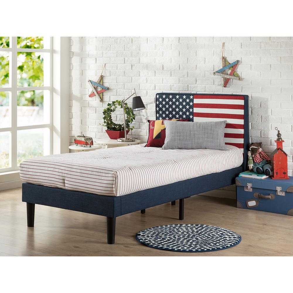 Zinus Upholstered Usa Flag Design Platform Bed Upholstered Blue Twin Product Photo