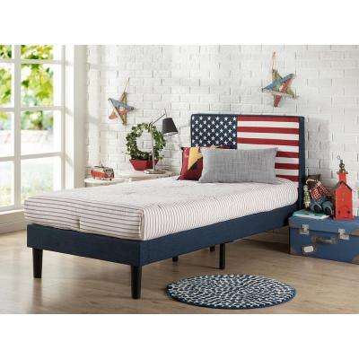 Twin Upholstered USA Flag Design Platform Bed