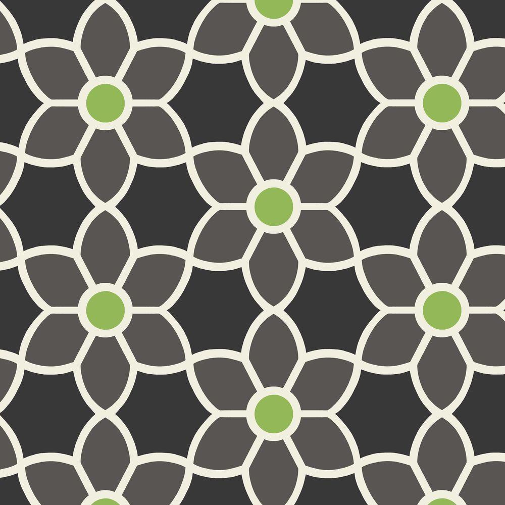 Beacon House Blossom Black Geometric Floral Wallpaper Sample
