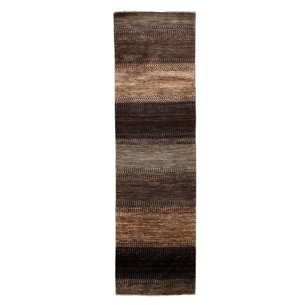 Darya Rugs Modern Brown 2 ft. 8 in. x 9 ft. 6 in. Indoor Rug Runner