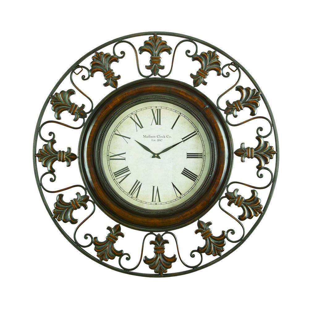 38 in. Traditional Fleur-De-Lis Iron Wall Clock