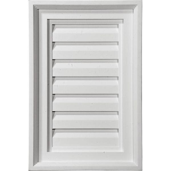15 in. x 30 in. Rectangular Primed Polyurethane Paintable Gable Louver Vent