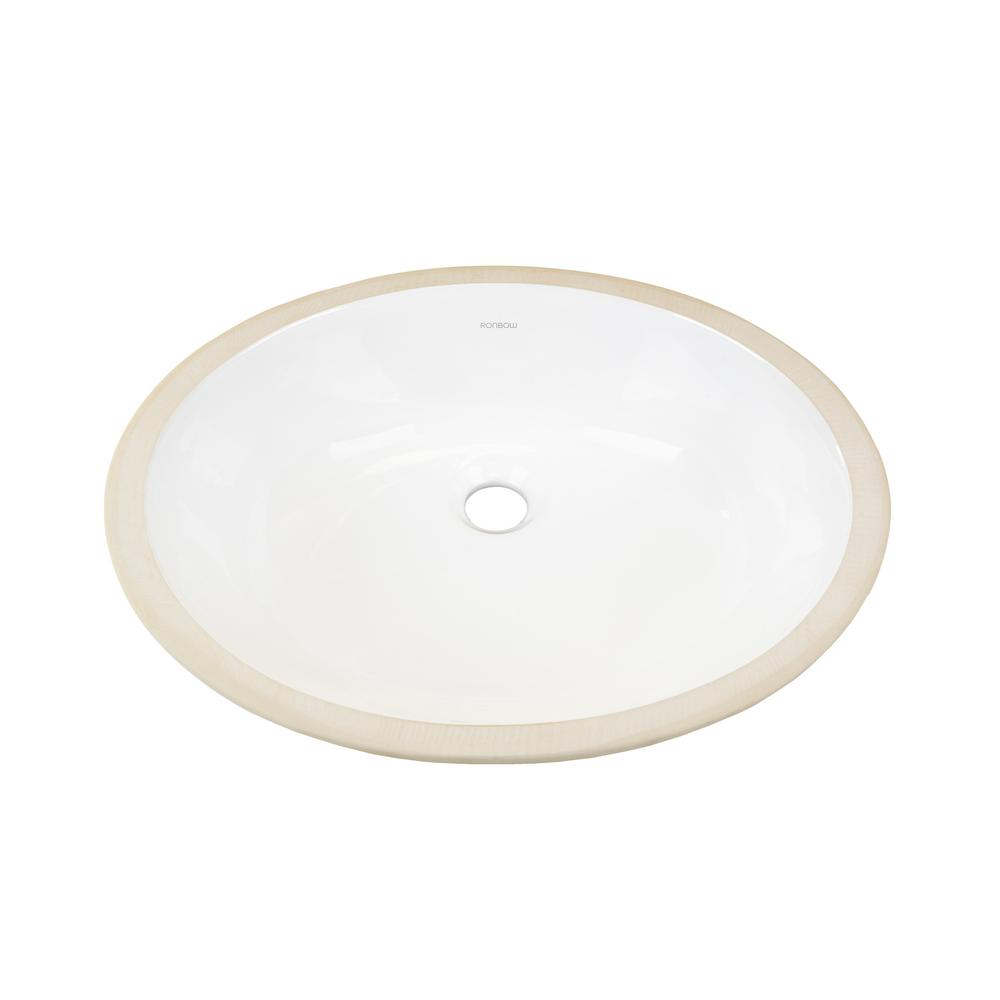 Wonderful Ronbow Essentials Oval Undercounter Ceramic Vessel Sink In White