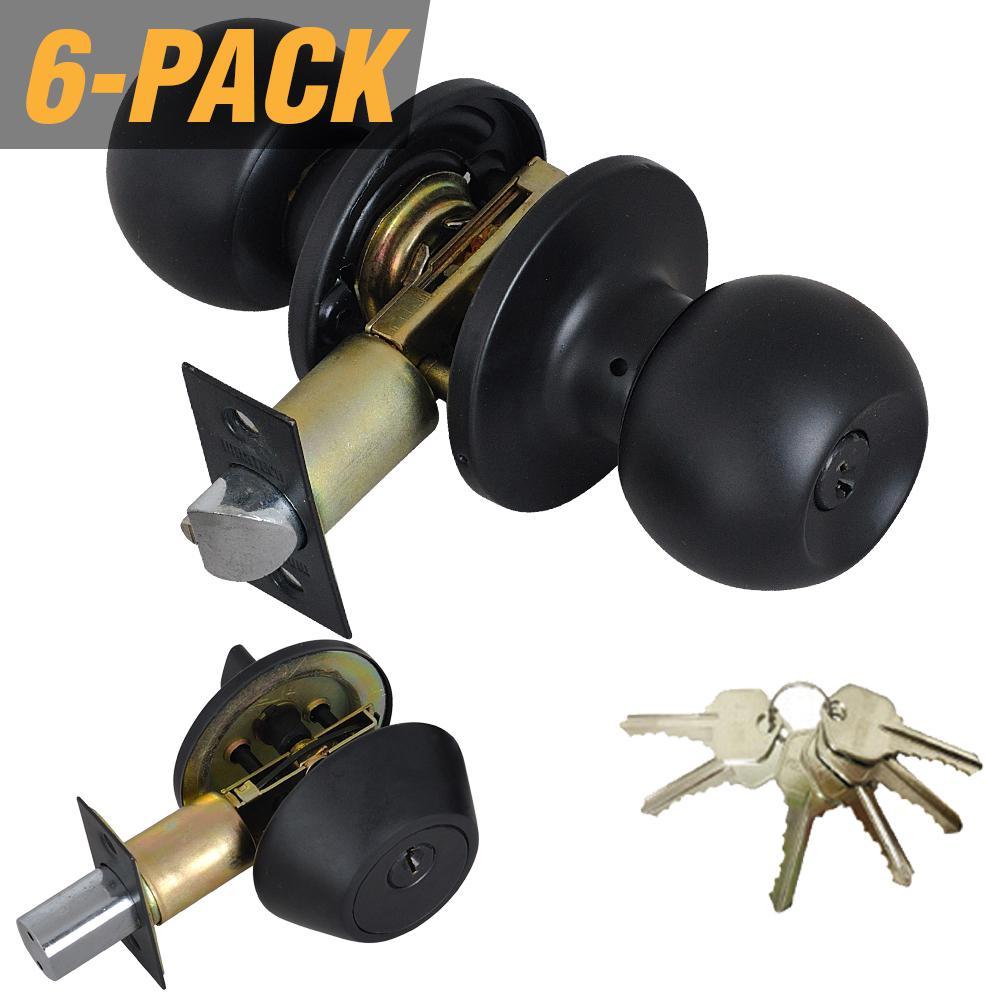 Black Entry Door Knob Combo Lock Set with Deadbolt and 36 Keys Total, (6-Pack, Keyed Alike)