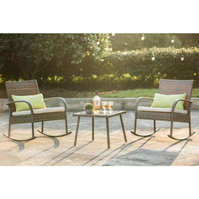 Wicker Outdoor 3-Piece Rocking Chair Set with Off-White Cushion