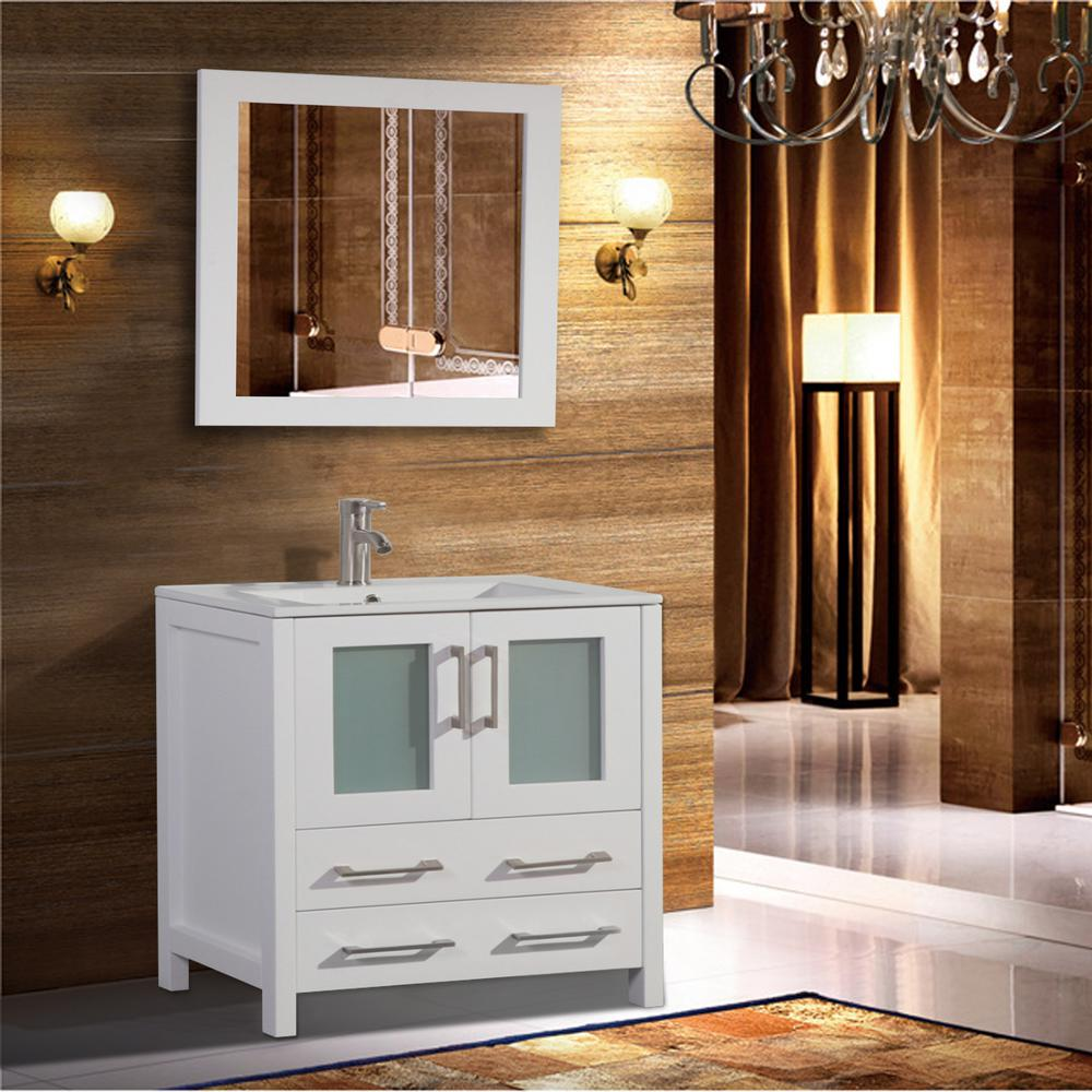 Vanity Art Brescia 36 in. W x 18 in. D x 36 in. H Bathroom Vanity in White with Single Basin Vanity Top in White Ceramic and Mirror