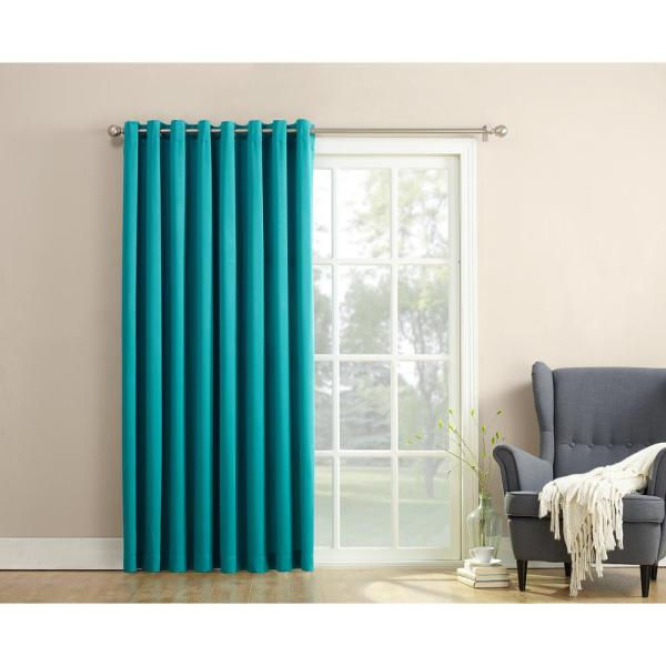 Semi-Opaque Gregory 100 in. by 84 in. Solid Window Patio Panel in Marine