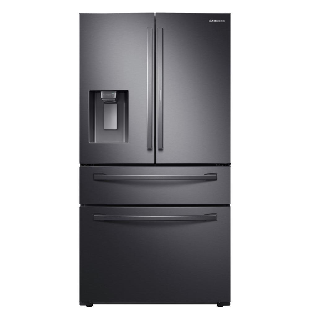 Samsung 27 8 cu  ft  Food Showcase 4-Door French Door Refrigerator in  Fingerprint Resistant Black Stainless