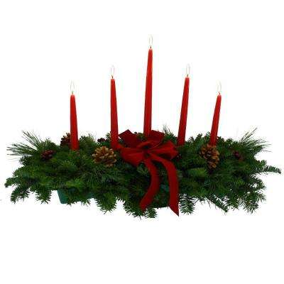 Balsam Fir Classic 5 Candle Fresh Centerpiece : Multiple Ship Weeks Available