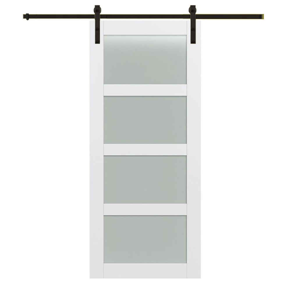 4 Lite Frosted Gl Primed Mdf Barn Door With Sliding Hardware Kit