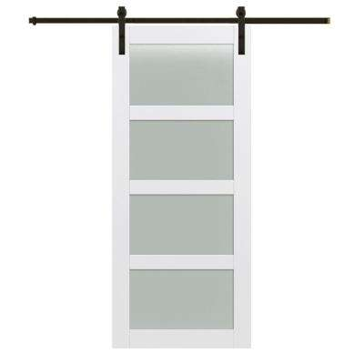 36 in. x 84 in. 4-Lite Frosted Glass Primed MDF Barn Door with Sliding Door Hardware Kit