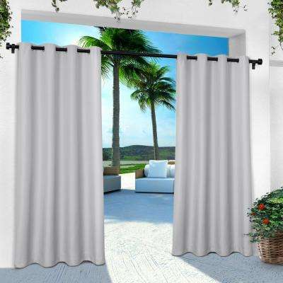 Indoor Outdoor Solid 54 in. W x 108 in. L Grommet Top Curtain Panel in Cloud Gray (2 Panels)