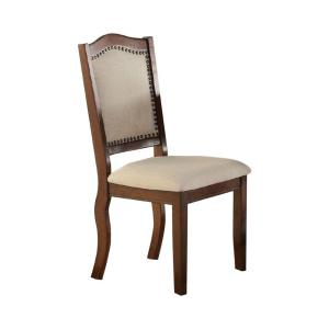 Contemporary Brown and Cream Rubber Wood Dining Chair (Set of 2)