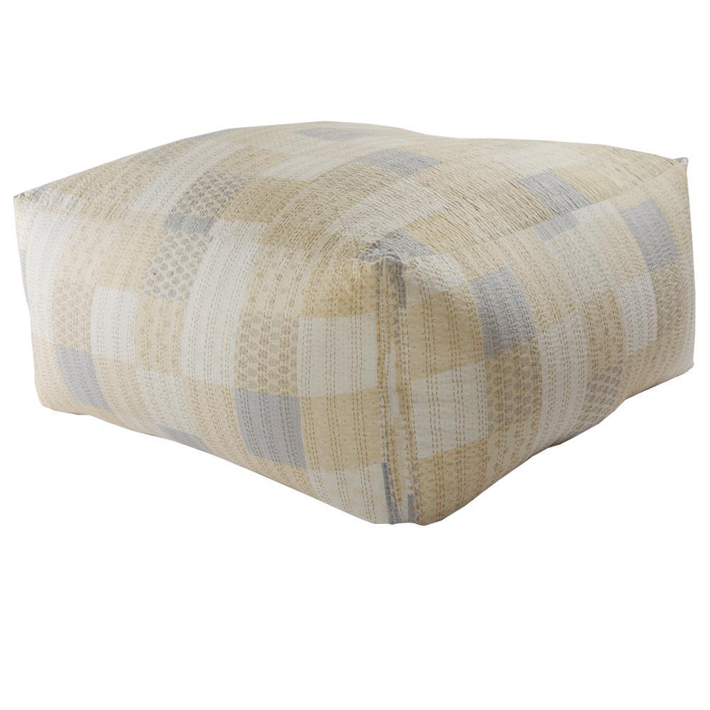 Lr Resources Kantha Patchwork Cream Ivory Oversize Pouf