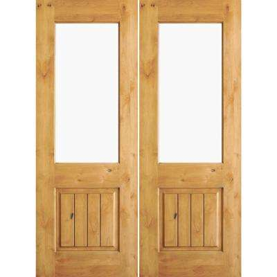64 in. x 80 in. Rustic Knotty Alder Clear Half-Lite Unfinished Wood with V-Groove Right Active Double Prehung Front Door