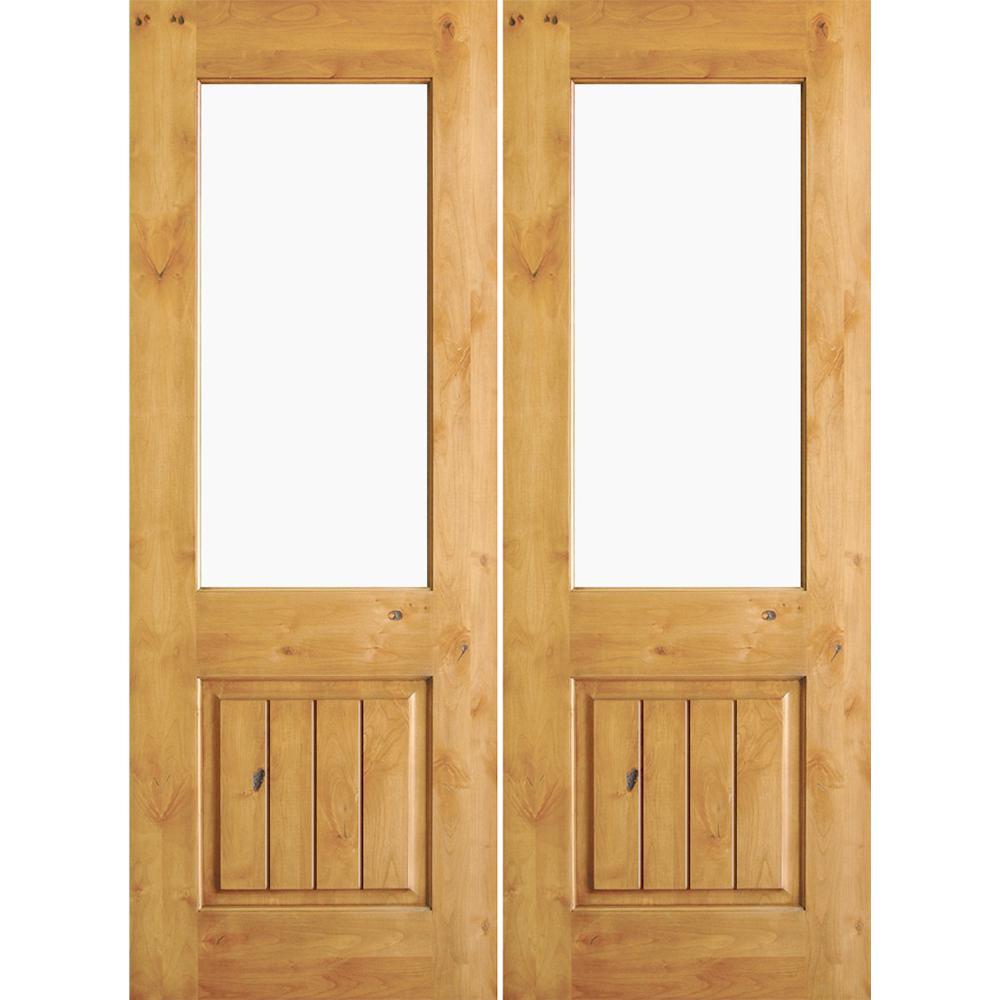 Krosswood Doors 72 In X 80 In Rustic Knotty Alder Clear
