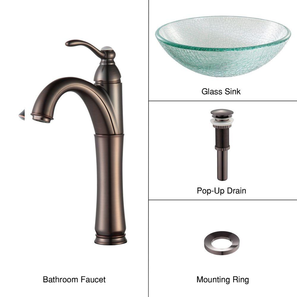 KRAUS Broken Glass Vessel Sink in Clear with Single Hole Single-Handle High-Arc Riviera Faucet in Oil Rubbed Bronze
