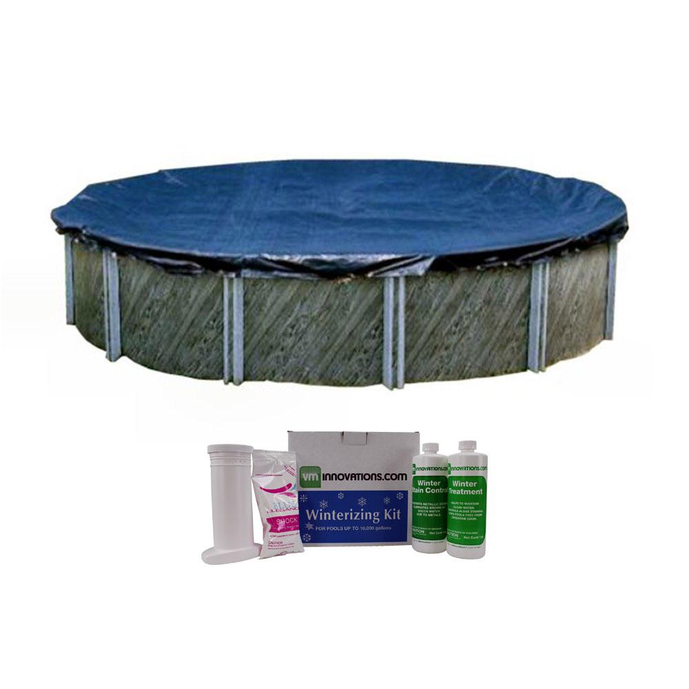 Intex Swimline 24 ft. Round Above Ground Pool Cover with Winterizing Chemical Kit