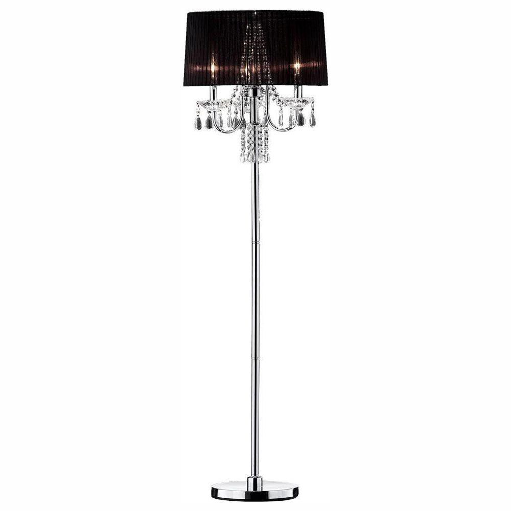 61 in. Silver Crystal Drop Floor Lamp