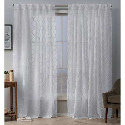 Bradford 54 in. W x 96 in. L Sheer Woven Ogee Embellished Hidden Tab Top Curtain Panel in White (2-Panel)