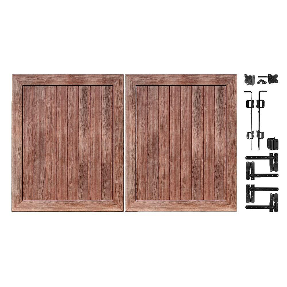 Veranda Pro Series 5 ft. W x 6 ft. H Walnut Vinyl Anaheim Privacy Double Drive Through Fence Gate