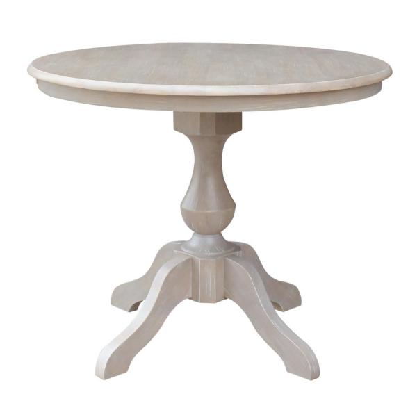 Sophia 36 in. Round Weathered Taupe Gray Dining Table
