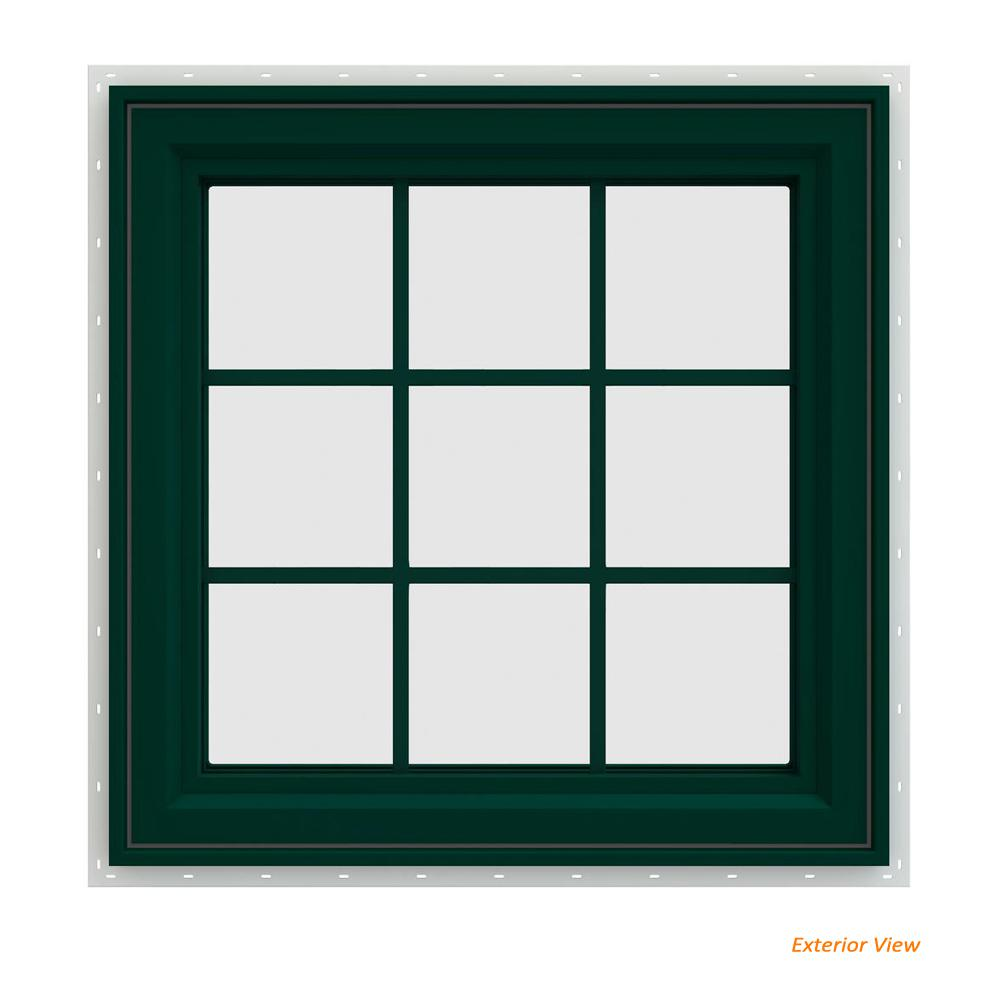 JELD-WEN 29.5 in. x 29.5 in. V-4500 Series Green Painted Vinyl Left-Handed Casement Window with Colonial Grids/Grilles