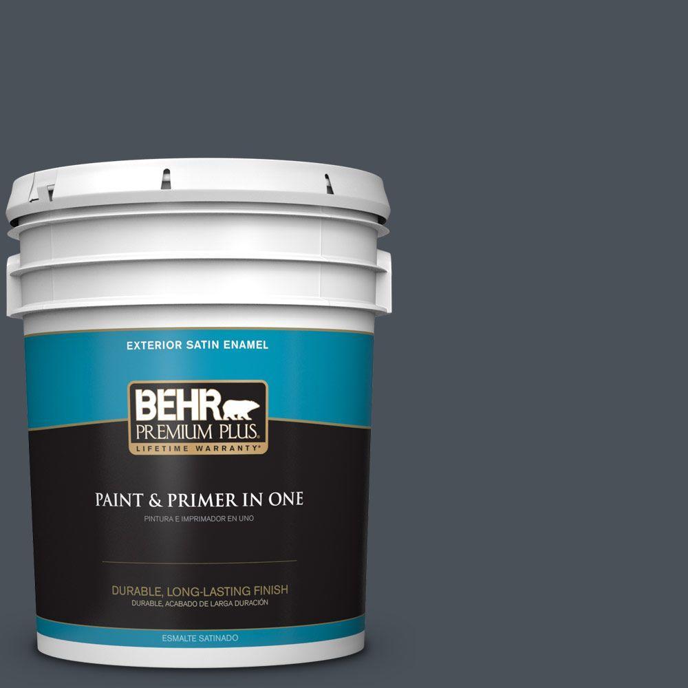 BEHR Premium Plus 5-gal. #T15-2 Seared Gray Satin Enamel Exterior Paint, Grays