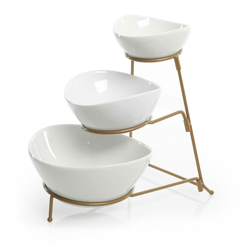 3 Tiered 4.75 in. White and Gold Porcelain and Metal Oval Chip And Dip Set With Metal Rack