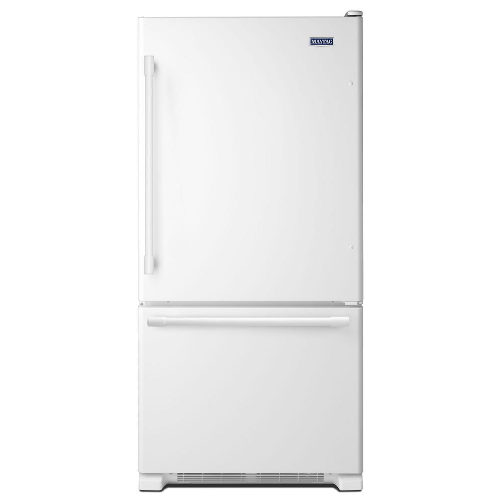 maytag 30 in w 19 cu ft bottom freezer refrigerator in white mbf1958few the home depot. Black Bedroom Furniture Sets. Home Design Ideas