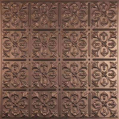 Fleur-de-lis Faux Bronze 2 ft. x 2 ft. Lay-in or Glue-up Ceiling Panel (Case of 6)