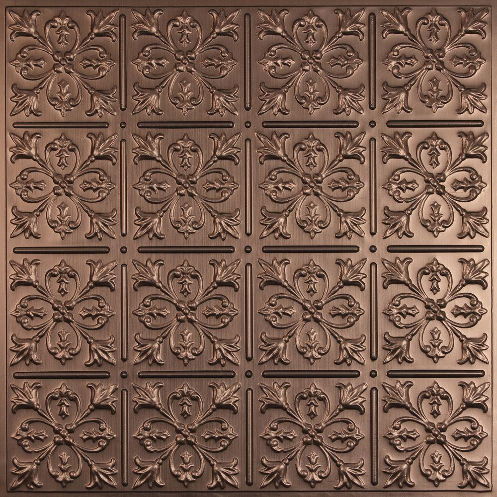 Ceilume Fleur-de-lis Faux Bronze 2 ft. x 2 ft. Lay-in or Glue-up Ceiling Panel (Case of 6)