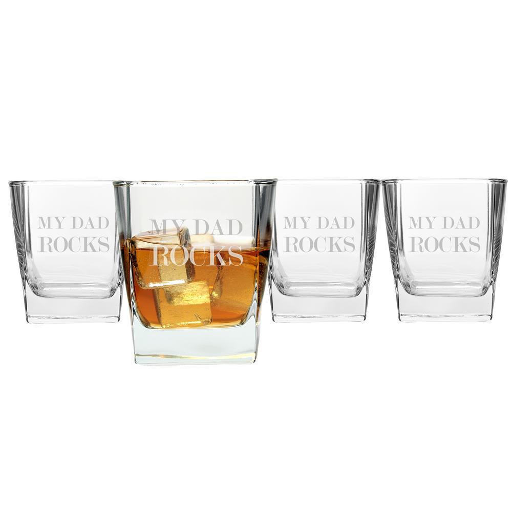 My Dad Rocks 10.5 oz. Whiskey Glasses (4-Pack)