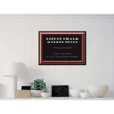 Cambridge Mahogany Wood 28 in. W x 20 in. H Framed Liquid Chalk Marker Board