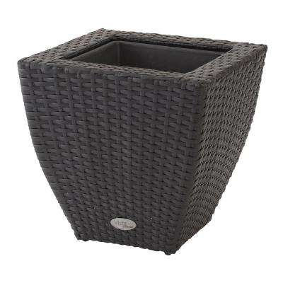 Vista 22 in. Square Resin Wicker Planter with Curve