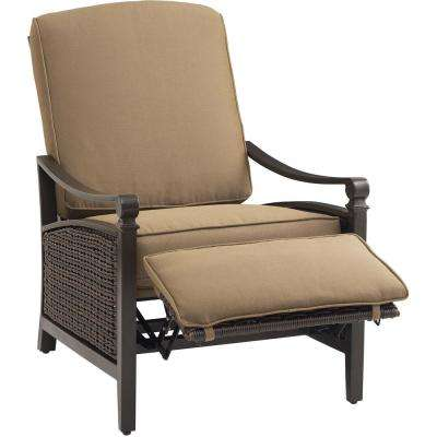 Carson Espresso All-Weather Wicker Outdoor Luxury Patio Recliner with Mocha Cushion