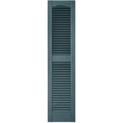 Classic Blue 12 x 55 Ekena Millwork LL1S12X05500CB Lifetime Vinyl Standard Cathedral Top Center Mullion with Open Louver Shutters