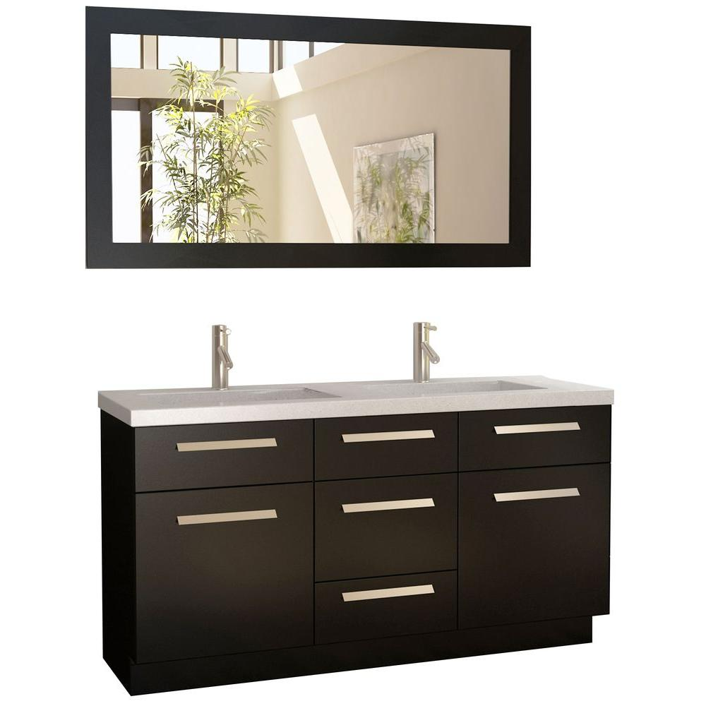 Double Vanity Espresso Composite Stone Vanity Top Mirror Quartz