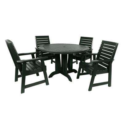 Weatherly Charleston Green 5-Piece Recycled Plastic Round Outdoor Dining Set