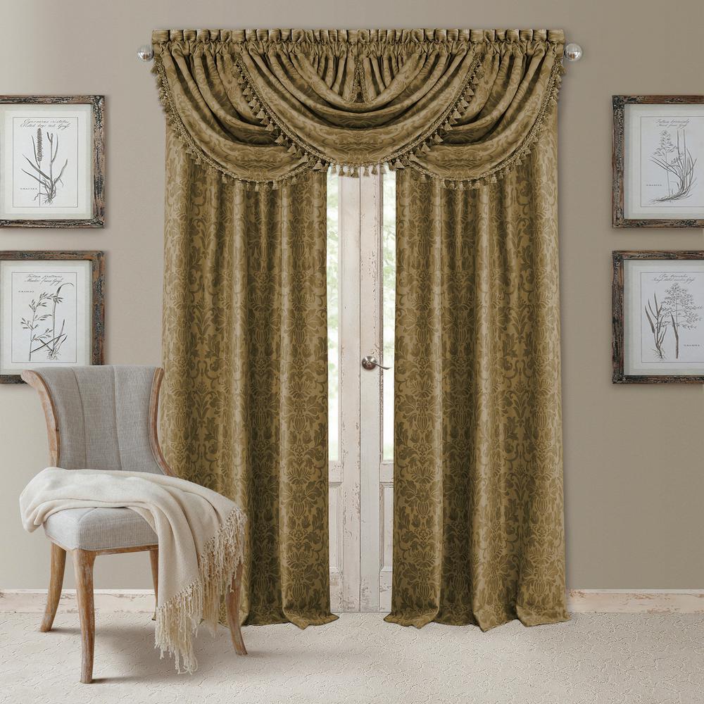 Elrene blackout antonia antique gold blackout rod pocket window panel 52 in w x